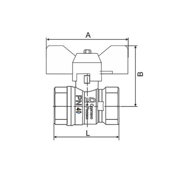 Кран латунь шаровой никель Pride ду 15 Ру40 ВР бабочка аналог 11б27п1 LD 47.15.В-В.Б .