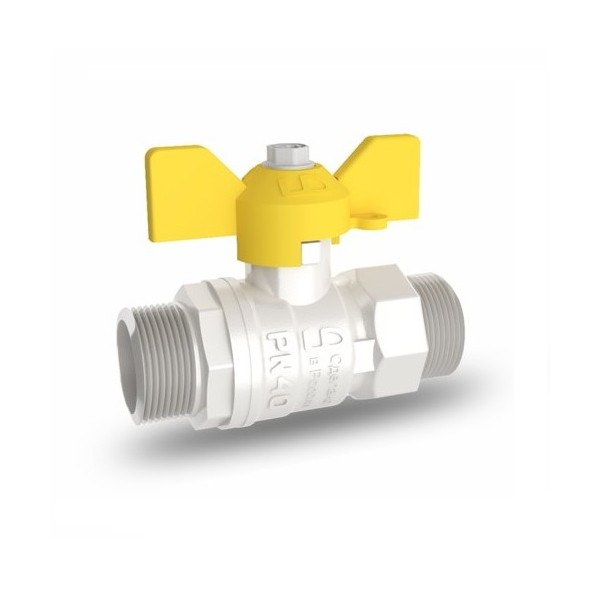 Кран латунь шаровой никель газ Pride ду 15 Ру40 НР бабочка аналог 11б27п LD 47.15.Н-Н.Б .